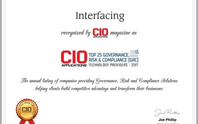 Interfacing's Enterprise Process Center® breezes into the Top 25 Governance, Risk and Compliance (GRC) Technology providers for 2017