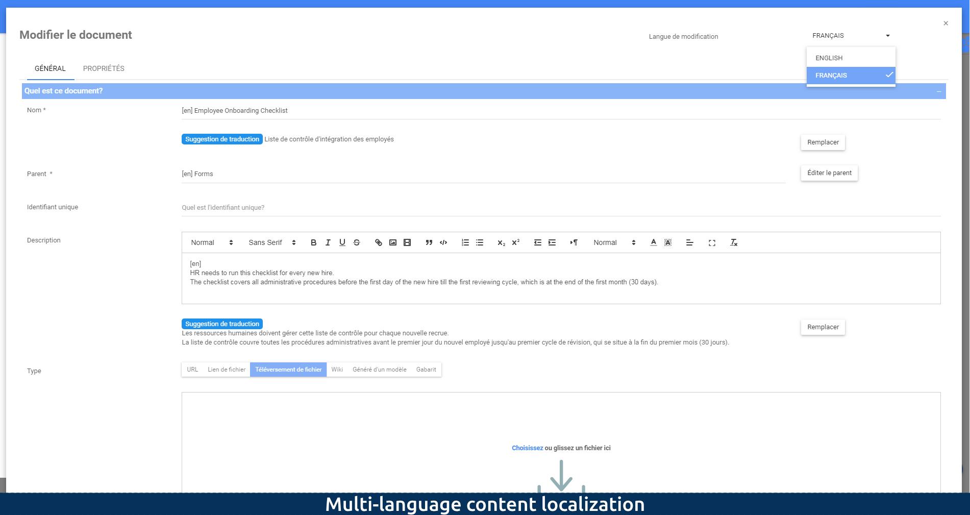 Multi-language content localization