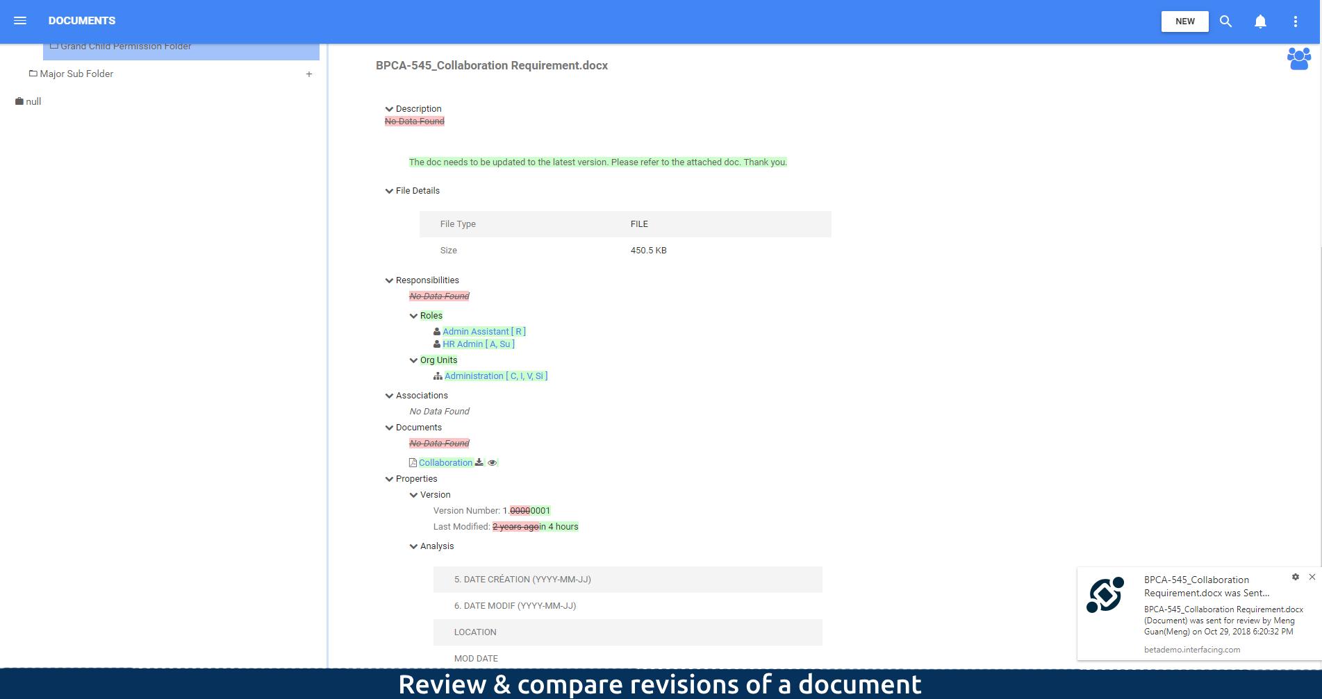Revisar y comparar revisiones