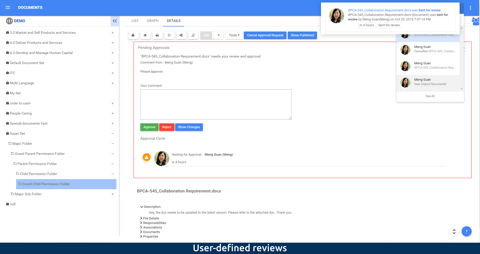 User-defined reviews